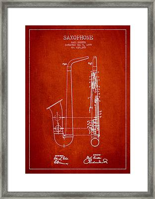 Saxophone Patent Drawing From 1899 - Red Framed Print by Aged Pixel