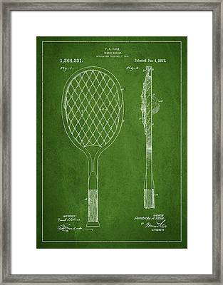 Vintage Tennnis Racketl Patent Drawing From 1921 Framed Print by Aged Pixel