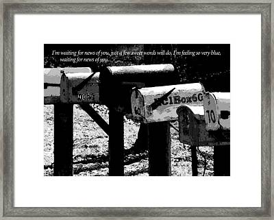 Waiting For News Of You Framed Print by James Temple