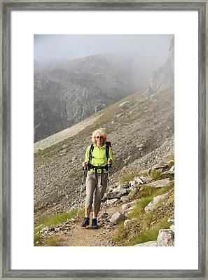 Walkers Doing The Tour Du Mont Blanc Framed Print by Ashley Cooper