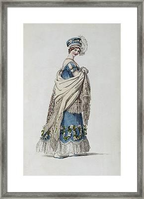 Walking Dress, Fashion Plate Framed Print by English School