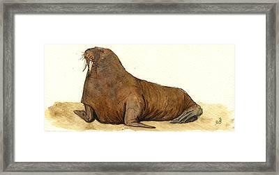 Walrus Framed Print by Juan  Bosco