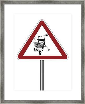 Warning Sign With Walking Frame Symbol Framed Print by Alfred Pasieka