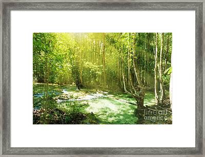 Waterfall In Rainforest Framed Print by Atiketta Sangasaeng