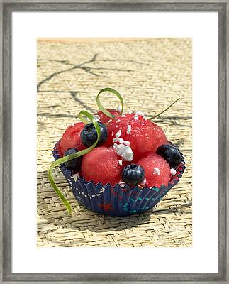 Watermelon Blueberry And Goatcheese Framed Print by Iris Richardson