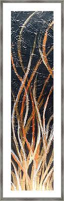 Whispering Reeds Abstract Triptych Paintings Framed Print by Holly Anderson