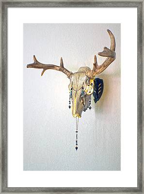 White And Gold White Tail Illuminating Skull Framed Print by Mayhem Mediums