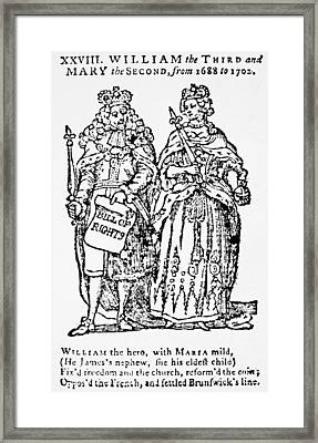 William IIi & Queen Mary Framed Print by Granger