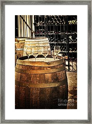Wine  Glasses And Barrels Framed Print by Elena Elisseeva