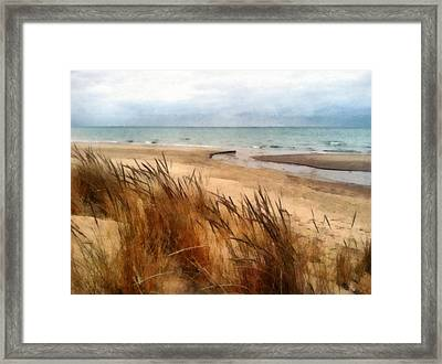 Winter Beach At Pier Cove Ll Framed Print by Michelle Calkins