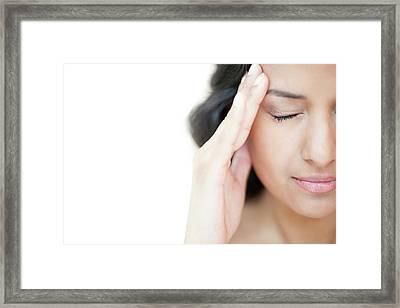 Woman With Headache Framed Print by Ian Hooton