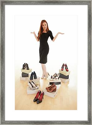 Woman With Shoes Framed Print by Ian Hooton