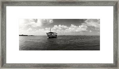 Wooden Boat In The Ocean, Morro De Sao Framed Print by Panoramic Images
