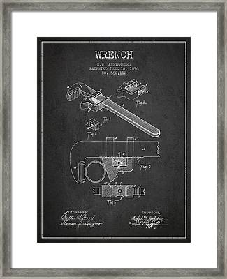 Wrench Patent Drawing From 1896 Framed Print by Aged Pixel