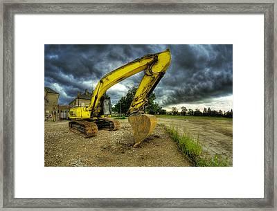 Yellow Excavator Framed Print by Jaroslaw Grudzinski
