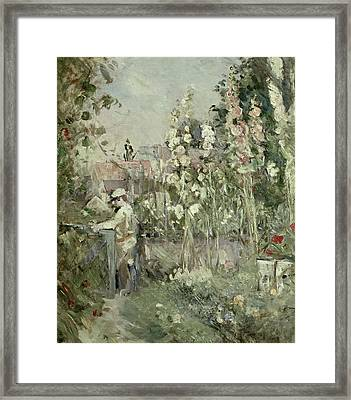 Young Boy In The Hollyhocks Framed Print by Berthe Morisot