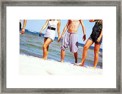 Young Friends On The Summer Beach Framed Print by Michal Bednarek