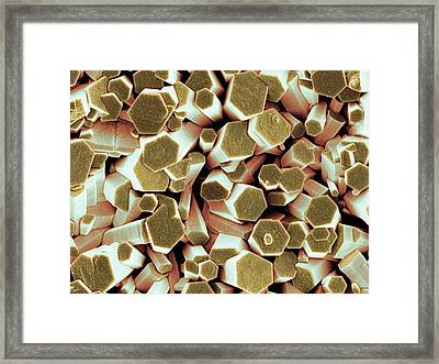 Zinc Oxide Crystals Framed Print by Science Photo Library