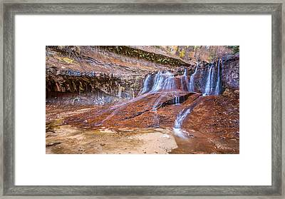 Zion Waterfall Framed Print by Pierre Leclerc Photography
