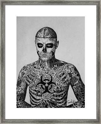 Zombie Boy Rick Genest Framed Print by Carlos Velasquez Art