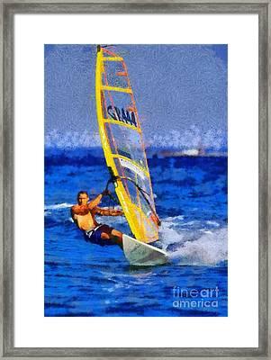 Windsurfing Framed Print by George Atsametakis