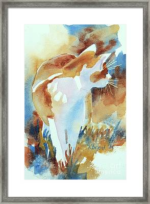Camouflage Framed Print featuring the painting 2004 Cat On The Prowl  I  by Kathy Braud