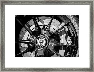 2011 Porsche 997 Gt3 Rs 3.8 Wheel Emblem -0989bw Framed Print by Jill Reger