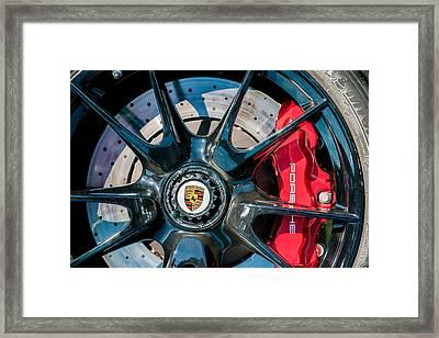 2011 Porsche 997 Gt3 Rs 3.8 Wheel Emblem -0989c Framed Print by Jill Reger