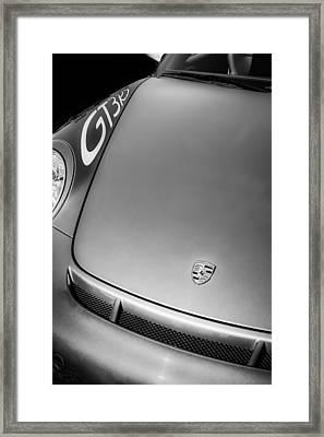 2011 Porsche Gt 3 Rs Hood Emblem -0710bw Framed Print by Jill Reger