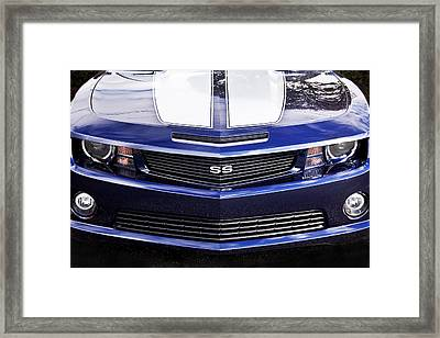 2012 Camaro Blue And White Ss Camaro Framed Print by Rich Franco