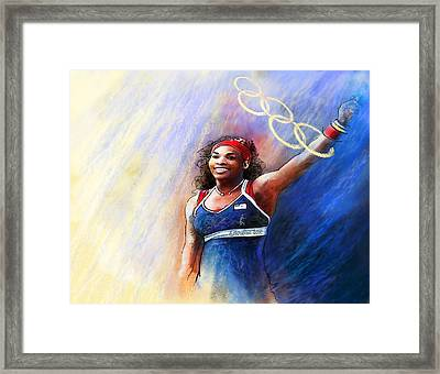 2012 Tennis Olympics Gold Medal Serena Williams Framed Print by Miki De Goodaboom