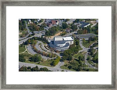 aerials of WVVU campus Framed Print by Dan Friend