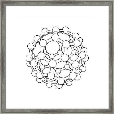 Buckminsterfullerene Molecule Framed Print by Russell Kightley