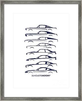 Ford Mustang Silhouettehistory Framed Print by Gabor Vida
