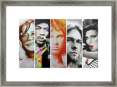 Jimi Hendrix, Kurt Cobain, And Amy Winehouse Collage - '27 Eternal' Framed Print by Christian Chapman Art