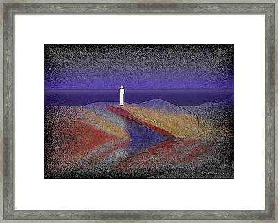276 -  Man Looking At The Ocean   Framed Print by Irmgard Schoendorf Welch