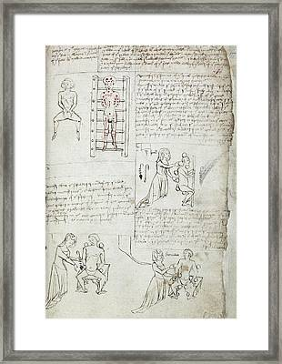 12th Century Medical Manuscript Framed Print by British Library