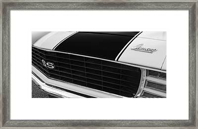 1969 Chevrolet Camaro Rs-ss Indy Pace Car Replica Grille - Hood Emblems Framed Print by Jill Reger