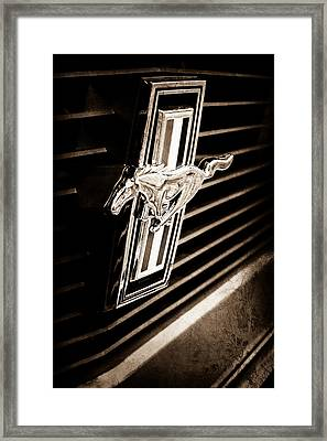 1970 Ford Mustang Boss 302 Fastback Grille Emblem Framed Print by Jill Reger
