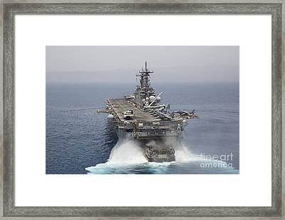 A Landing Craft Air Cushion Enters Framed Print by Stocktrek Images