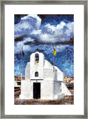Agios Nikolaos Chapel In Aegina Port Framed Print by George Atsametakis