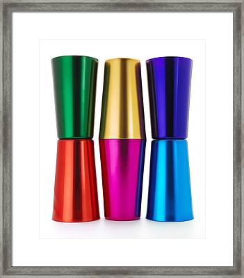Anodized Aluminum Tumblers Framed Print by Jim Hughes