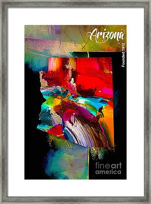 Arizona Map Collection Framed Print by Marvin Blaine