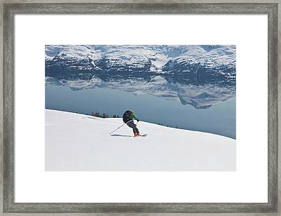 Backcountry Skiing In Prince William Framed Print by Hugh Rose