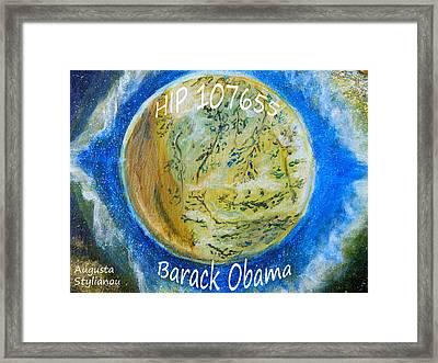 Barack Obama Star Framed Print by Augusta Stylianou