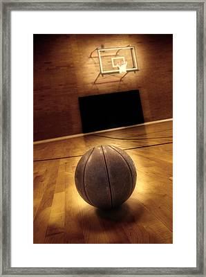 Basketball And Basketball Court Framed Print by Lane Erickson