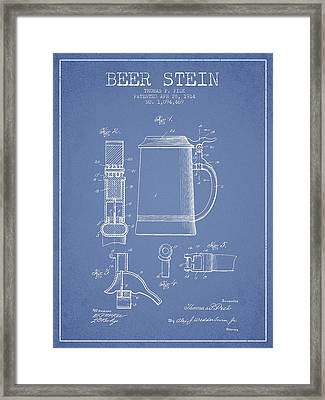 Beer Stein Patent From 1914 - Light Blue Framed Print by Aged Pixel