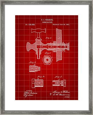 Beer Tap Patent 1876 - Red Framed Print by Stephen Younts