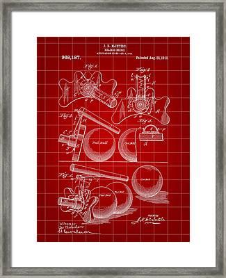 Billiard Bridge Patent 1910 - Red Framed Print by Stephen Younts