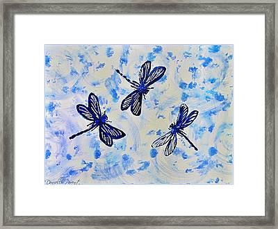 3 Blue Dragonflies Alcohol Ink Framed Print by Danielle  Parent